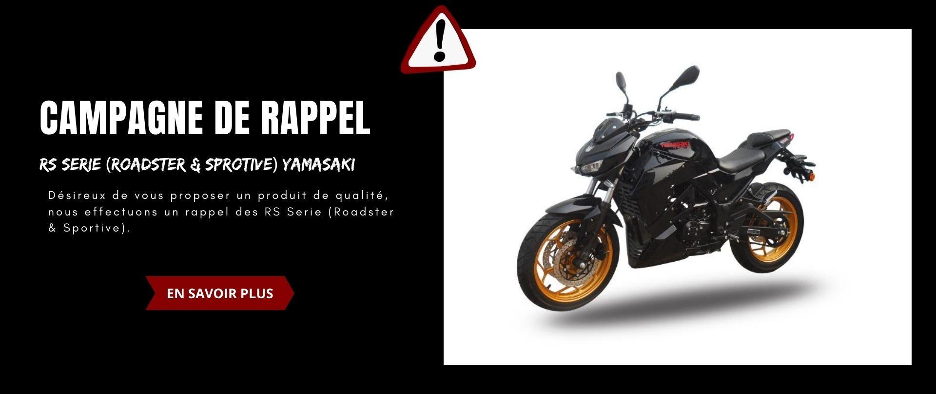 Nos motos de Série RS datant d'avant 2021 dispose d'un rappel sur la ligne d'échappement, prenez contact avec nous.